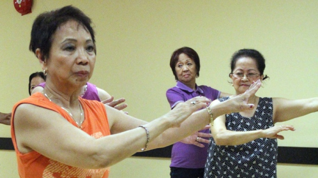 Members of the group Seniors in Motion practice their Tai Chi Wednesday, May 25, 2011 in Montreal. (THE CANADIAN PRESS/Eric Danek)