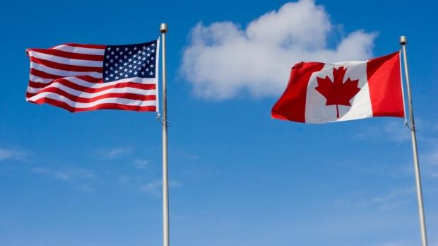 Canada U.S. flags Canadian American