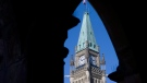 The Peace Tower is framed in an archway on the East Block of Parliament Buildings on Parliament Hill in Ottawa, Thursday, Sept., 10, 2009. (Adrian Wyld/The Canadian Press)