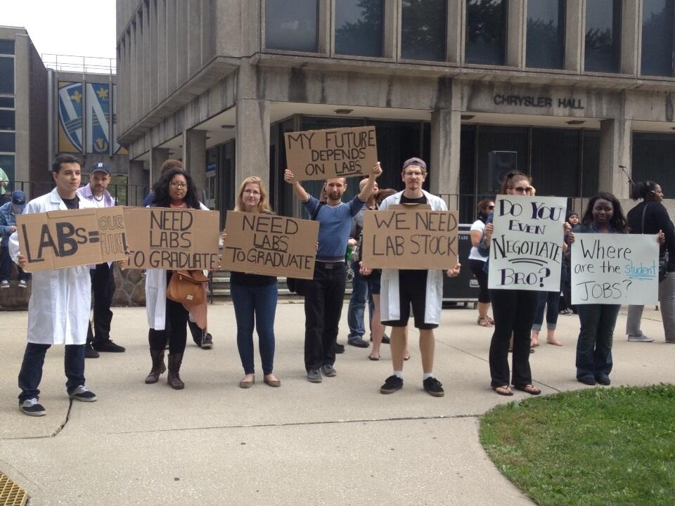 Students walk out University of Windsor