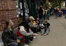 Residents of the Downtown Eastside line up to participate in popular annual photo contest Hope In Shadows, Vancouver, B.C. Saturday, June 7, 2008.