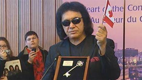 Kiss frontman Gene Simmons received a key to Winnipeg Wednesday.