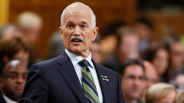 NDP Leader Jack Layton stands during Question Period in the House of Commons on Parliament Hill in Ottawa on Wednesday, June 15, 2011. (Adrian Wyld / THE CANADIAN PRESS)