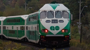 A GO train approaches a crossing in this file photo. (Tom Stefanac/CP24)