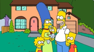 This undated frame from the Fox series 'The Simpsons,' shows the popular cartoon family posing in front of their home, from left, Lisa , Marge , Maggie, Homer and Bart Simpson. (Fox Broacasting Co.)
