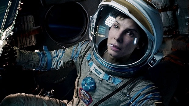Sandra Bullock in a scene from Warner Bros. Pictures Canada's 'Gravity'. 'Gravity' has BAFTA nominations in 11 categories, including best picture and lead actress, for Sandra Bullock.