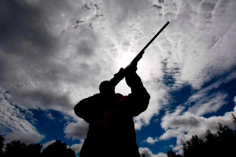 A rifle owner checks the sight of his rifle at a hunting camp property in rural Ontario west of Ottawa, Sept. 15, 2010. (Sean Kilpatrick / THE CANADIAN PRESS)