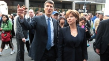 Vancouver Mayor Gregor Robertson, left, and British Columbia Premier Christy Clark tour Granville St. in Vancouver, B.C., on Thursday June 16, 2011. (Darryl Dyck / THE CANADIAN PRESS)