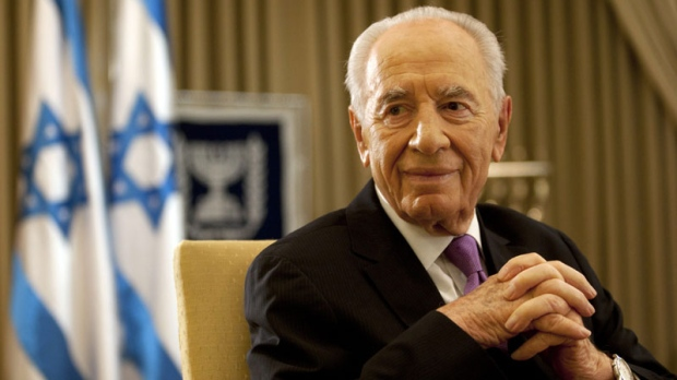 Israel's President Shimon Peres, during an interview with the Associated Press in his residence in Jerusalem, Thursday, June 16 , 2011. (AP Photo/Sebastian Scheiner)