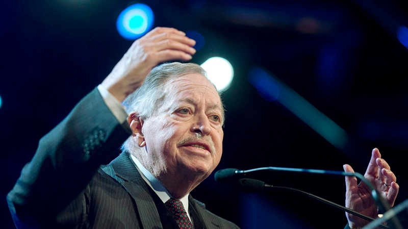 Former Quebec premier Jacques Parizeau speaks in Montreal on March 2, 2013. (Graham Hughes / THE CANADIAN PRESS)