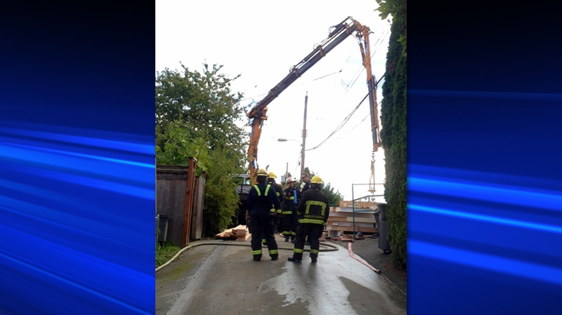 A man is dead following an industrial accident in East Vancouver on Oct. 4, 2013. (Jim Fong for CTVBC)
