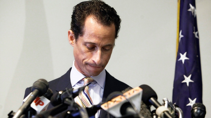 Former U.S. Rep. Anthony Weiner announces his resignation from Congress, in the Brooklyn borough of New York, Thursday, June 16, 2011. (AP / Richard Drew)
