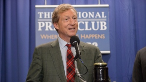 Billionaire Tom Steyer speaks at the Press Club in Washington on Thursday June 20, 2013. (Sam Hurd / National Press Club)