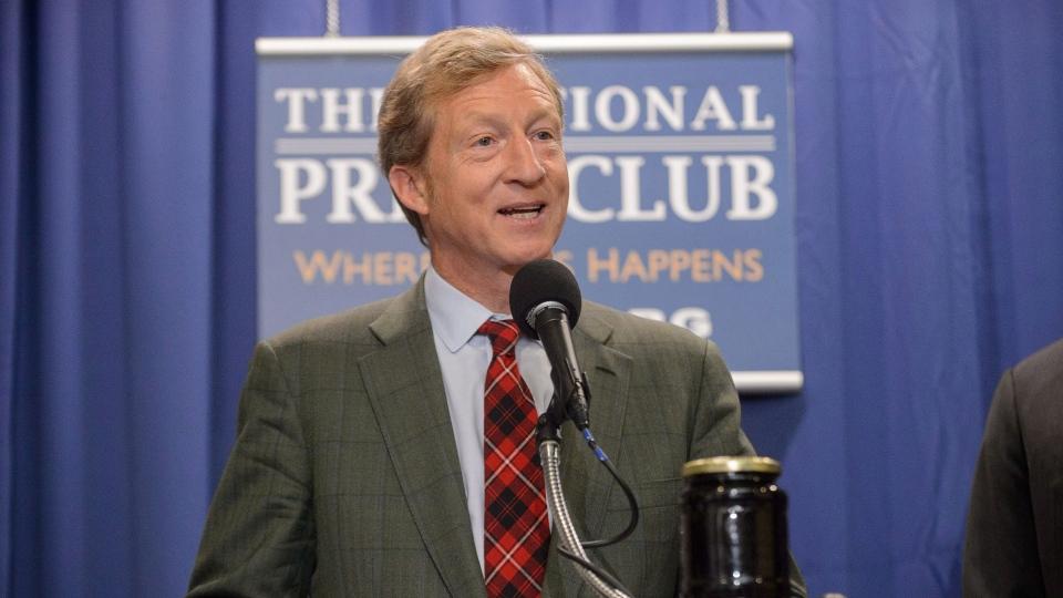 Billionaire Tom Steyer speaks at the Press Club in Washington on Thursday June 20, 2013. (Sam Hurd / National Press Club)