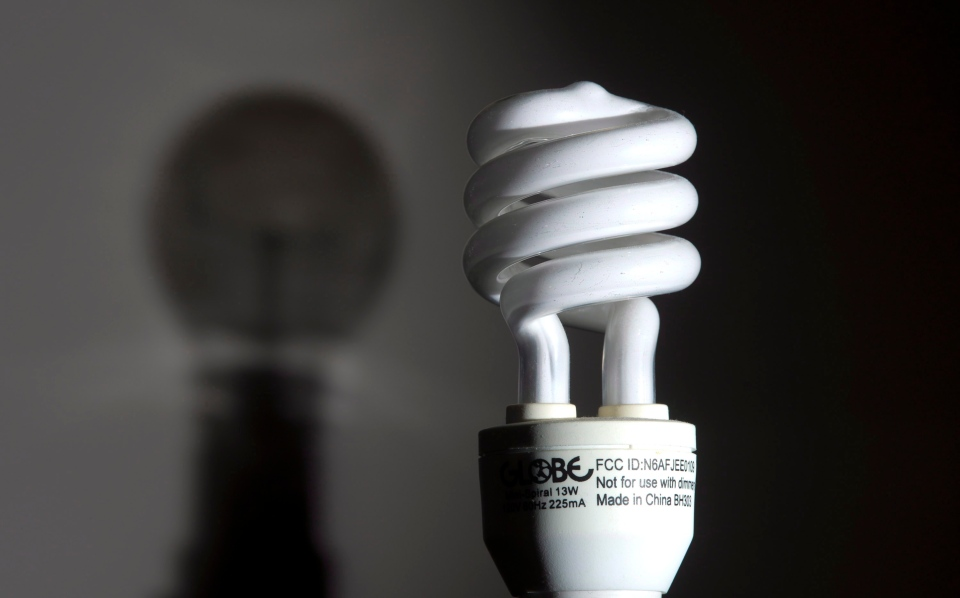 The shadow of an incandescent light bulb is seen on a wall behind a compact fluorescent light bulb (CFL)  in Ottawa on Saturday, Jan. 19, 2013. (Adrian Wyld / THE CANADIAN PRESS)