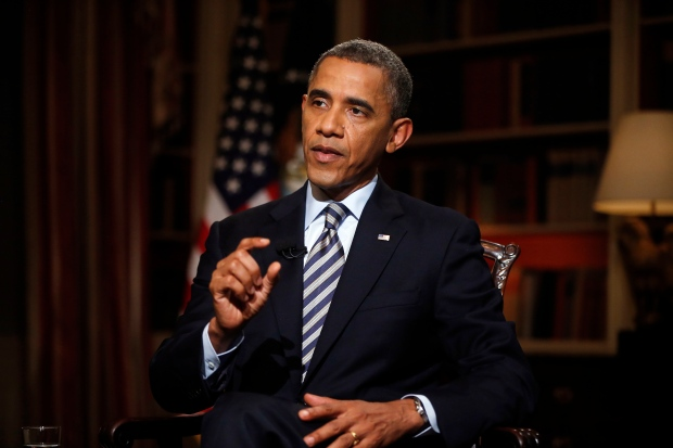U.S. President Barack Obama talks to AP