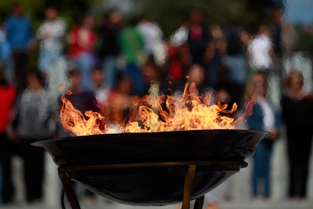Protesting the Olympic flame in Athens