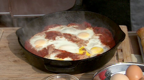 Barbecue expert Naz Cavallaro whips up eggs provencal on the barbecue