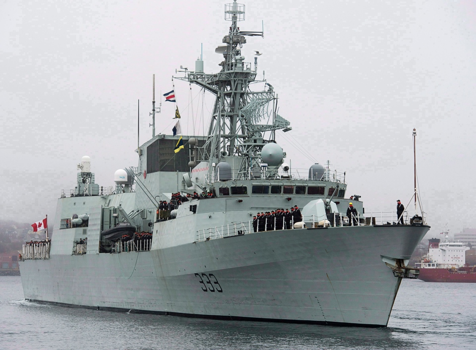 HMCS Toronto heads to the Arabian Sea as part of Operation Artemis, in Halifax on Monday, Jan.14, 2013. (Andrew Vaughan / THE CANADIAN PRES)
