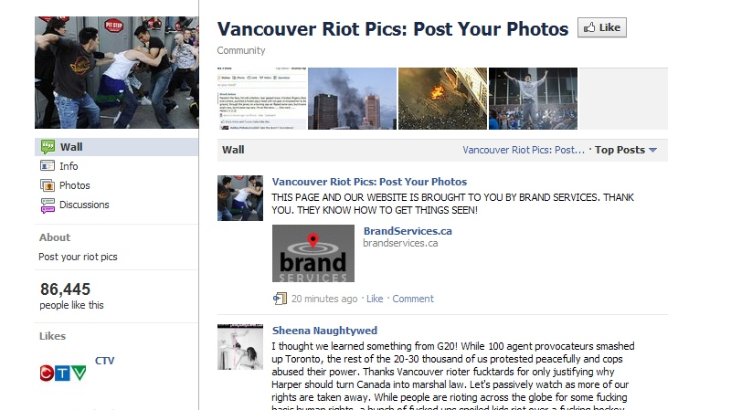 People have turned to Facebook and other social media to express their opinions on the riots in Vancouver.
