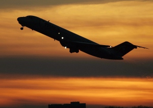 A plane takes off from Minneapolis-St. Paul International Airport, Monday, April 14, 2008. (AP / Andy King)