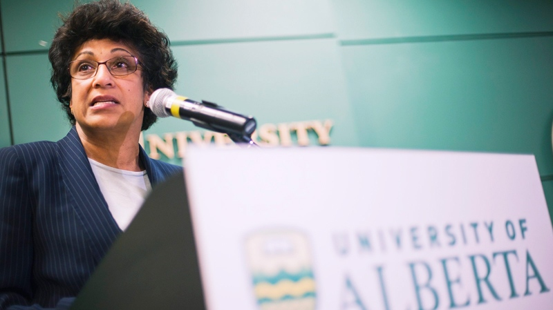 University of Alberta President Indira Samarasekera speaks at a press conference to announce the resignation of Dr. Philip Baker as Dean of the Faculty of Medicine and Dentistry, in Edmonton on Friday, June 17, 2011. (John Ulan / THE CANADIAN PRESS)