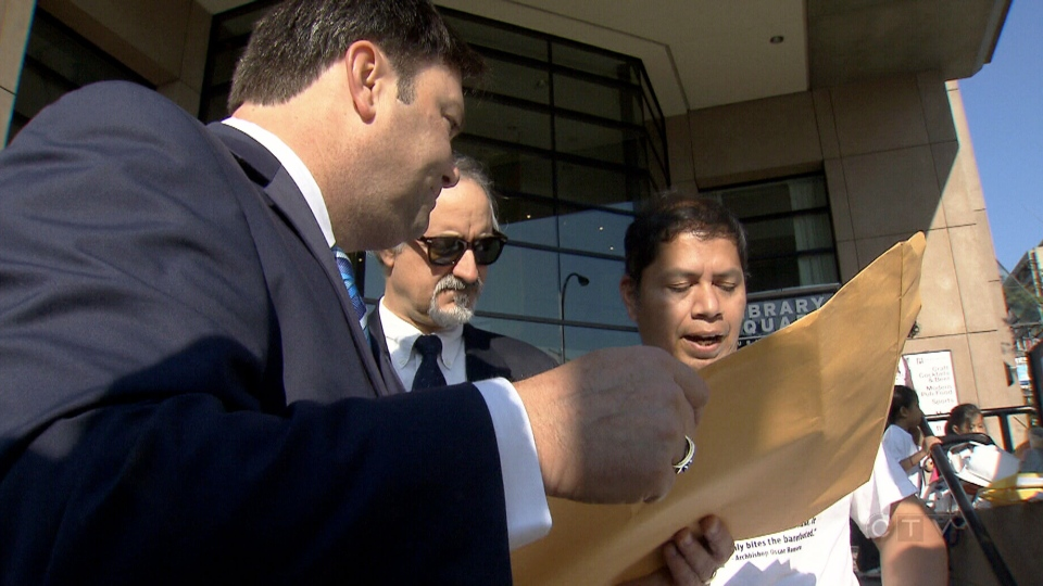 Jose Figueroa claims sanctuary in a Langley, B.C. church after a warrant was issued by Canadian Border Services.