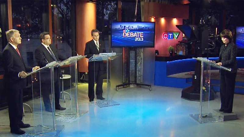 Mayoral candidates, from left, Marcel Cote, Denis Coderre and Richard Bergeron participated in a lively English-language debate Sunday moderated by CTV Montreal anchor Mutsumi Takahashi. (CTV Montreal).