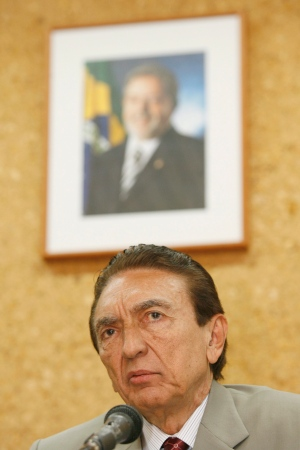 Brazil's Mines and Energy Minister Edison Lobao speaks during a news conference in this 2008 file photo. (AP Photo/Eraldo Peres)