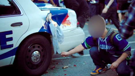 A Maple Ridge water polo player is suspected of trying to light a police car on fire during Vancouver's Stanley Cup riots. June 15, 2011. (CTV)