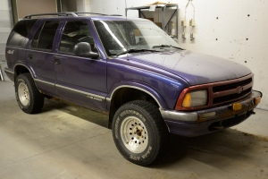 A purple Chevrolet Blazer that police say was driven by Michael Stanley is seen in this handout photo.