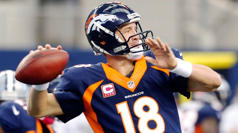 Denver Broncos quarterback Peyton Manning passes the ball against the Dallas Cowboys during the second quarter of an NFL football game in Arlington, Texas, Sunday, Oct. 6, 2013. (AP / Sharon Ellman)
