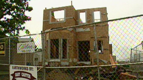 New construction in one of the lots destroyed in the Lago Lindo explosion June 20, 2010. Sunday, June 19, 2011.
