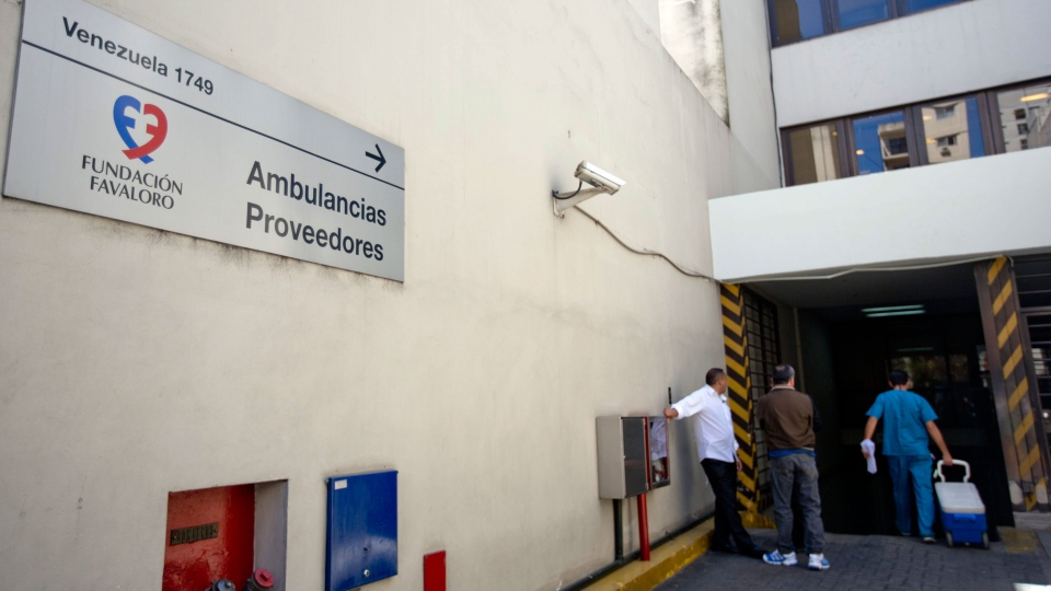 An entrance to the Favaloro Hospital is shown, where Argentine President Cristina Fernandez returned, presumably for more treatment of the head injury, in Buenos Aires, Argentina, Monday, Oct. 7, 2013. (AP / Natacha Pisarenko)