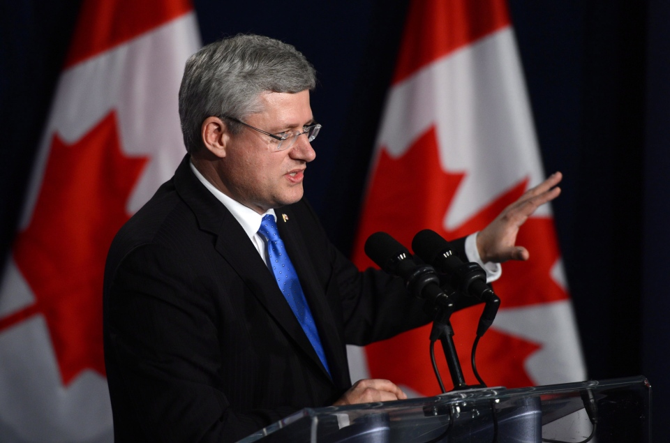 Prime Minister Stephen Harper takes part in a closing press conference in Nusa Dua, Bali, Indonesia on Tuesday, Oct. 8, 2013. (Sean Kilpatrick / THE CANADIAN PRESS)