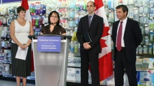 Health Minister Leona Aglukkaq (second from left), and Veterans Affairs Minister Steven Blaney (third from left) announce that the Canada Consumer Product Safety Act is now the law of the land, Monday, June 20, 2011. MARKETWIRE PHOTO / Health Canada