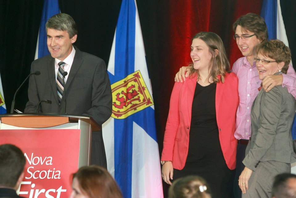Nova Scotia Liberal Party leader Stephen McNeil smiles as he thanks his supporters after winning the Nova Scotia provincial election at his campaign headquarters in Bridgetown, Nova Scotia on Tuesday, October 8, 2013. (Mike Dembeck / THE CANADIAN PRESS)