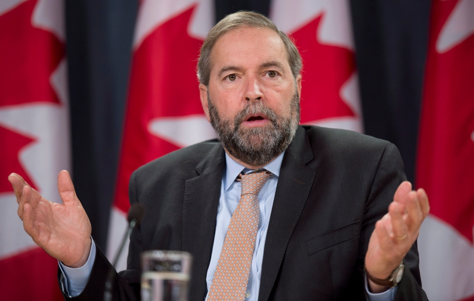 NDP Leader Tom Mulcair speaks during a news conference in Ottawa, Wednesday, Oct. 9, 2013. (Adrian Wyld / THE CANADIAN PRESS)