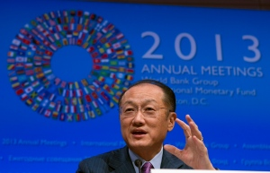 World Bank President Jim Yong Kim speaks at a news conference during the World Bank/IMF Annual Meetings at IMF headquarters in Washington, Thursday, Oct. 10, 2013. (AP Photo/Jose Luis Magana)