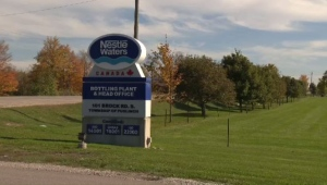 A sign marks the entrance to the Nestle Waters bottling plant in Aberfoyle, Ont.