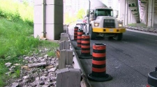 Traffic was delayed when a piece of concrete fell from the Gardiner Expressway on Monday, June 20, 2011.