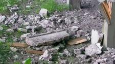 Concrete fell from the Gardiner Expressway facade.