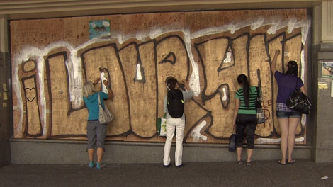 Someone has spray painted graffiti over one of the most potent symbol of the city's redemption in downtown Vancouver. June 21, 2011. (CTV)
