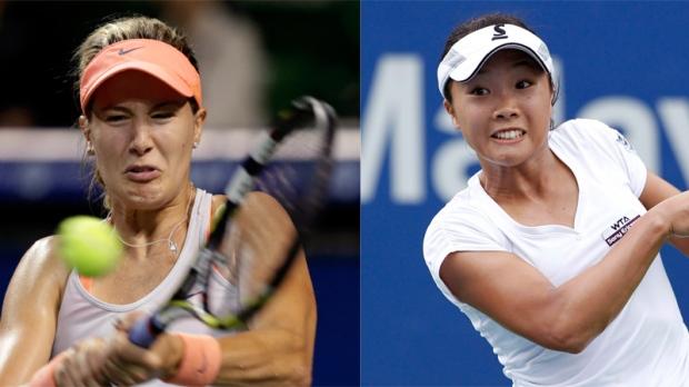 Eugenie Bouchard (left) needs to beat Kurumi Nara