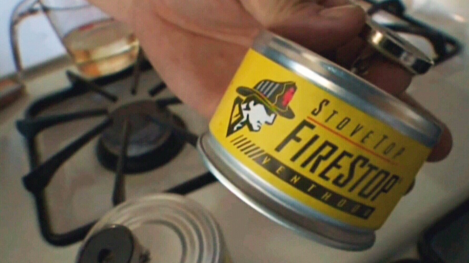 The extinguisher called the 'Stovetop Firestop' douses grease fires by releasing a chemical.