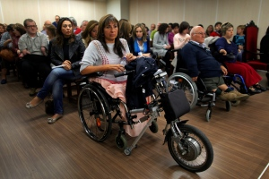 Spaniards born with severe defects wait for the trial against German company Gruenenthal Group to start at the Court in Madrid, Spain, Monday, Oct. 14, 2013. (AP / Andres Kudacki)
