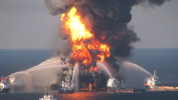 Fire boat response crews battle the blazing remnants of the off shore oil rig Deepwater Horizon on Wednesday, April 21, 2010. (US Coast Guard)