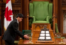 Parliamentary pages prepare the House of Commons