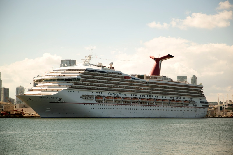 The Carnival Cruise line ship, Victory, sits in port in Miami, Monday, Oct. 14, 2013. (AP Photo/J Pat Carter)