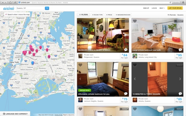 This screen shot of the Airbnb website shows a typical search for listings of rooms to rent, in this case in the Queens borough of New York. (AP Photo/Airbnb)